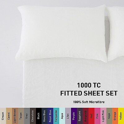 1000TC Microfiber Fitted Sheet Set [NO FLAT] Single/Double/Queen/King/Super d