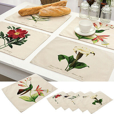 Retro Bird Flower Cotton Linen Placemat Dining Table Mat Bowl Coaster Tableware