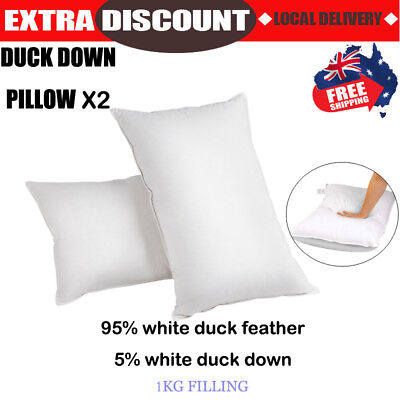 2x Duck Down Feather Pillows Twin Pack Cotton Cover 73 x 48cm Luxury Home Hotel