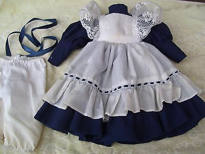 Alte Puppenkleidung Violet White Dress Outfit vintage Doll clothes 40 cm Girl
