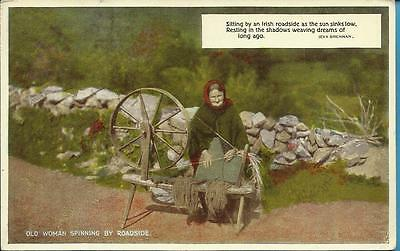 Vintage Valentines Postcard - AN OLD WOMAN SPINNING BY THE ROADSIDE