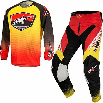 Sale! 2017 Alpinestars Racer SUPERMATIC Jersey Pant Kit 32 34 36 38 Red/YELLOW