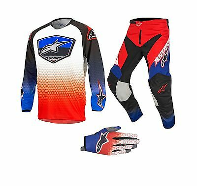 New 2017 Alpinestars Racer SUPERMATIC Jersey Pant Kit & Gloves RED/BLUE Sale!