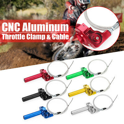 """7/8"""" CNC Billet Twister Throttle Tube Clamp Assembly + Cable For Dirt Pit Bike"""