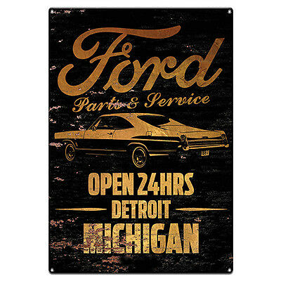 FORD Parts Open 24hrs Detroit Michigan Tin Metal Man Cave Bar Sign Fathers Gift