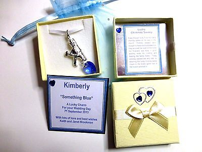 Something Blue Lucky Chimney Sweep Charm made with Swarovski Heart +Gift Card