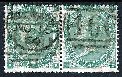 "GB QV 1862 1/- Green Plate 2 (Bears No.""1"") A PAIR PB-PC SG 90 (Spec J101[2])"