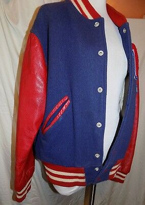 VINTAGE WOOL SCHOOL WM LETTER JACKET RED LEATHER SLEEVES blue jacket L