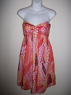 MILLY Brown Pink Print Strapless Dress Sz S NWOT $395