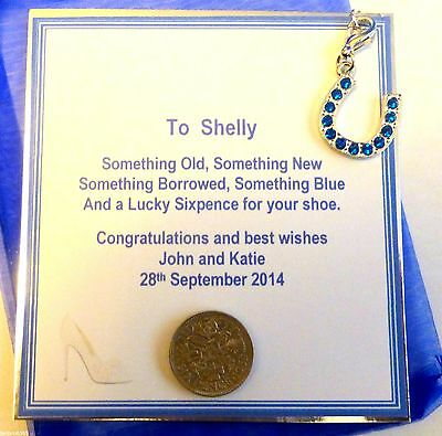 Something Blue Bridal Good Luck Horseshoe Charm and Sixpence for her Shoe