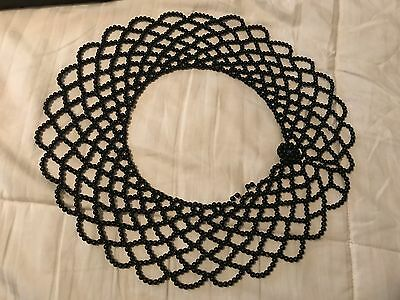 Vintage Black Beaded Scalloped ladies collar necklace