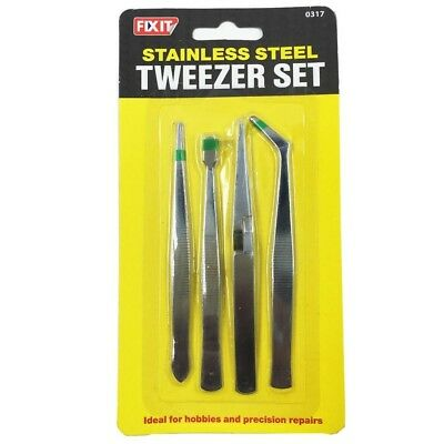 4pc Stainless Steel Tweezer Assorted Set Precision Hand Tools Slanted Straight
