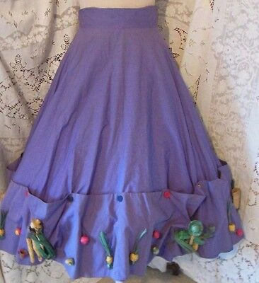 Vintage Full Circle Lavender Whimsy Skirt Woven Straw Figures 24 Minna Lee