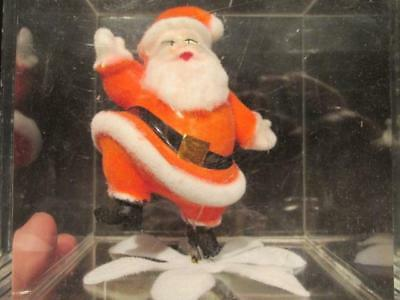 Santa Claus Is Coming to Town Vintage Music Box Rotating Santa in Clear Cube