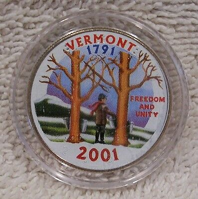 2001  Vermont - Colorized - Kennedy Half Dollar - Statehood - 50 Cent Coin