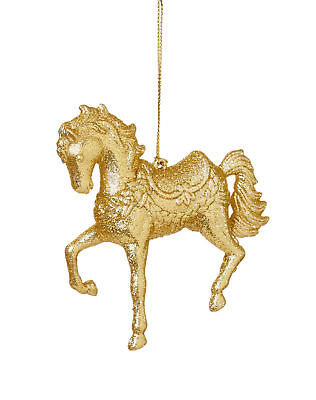 Christmas Horse Decorations.3 X Gold 3d Glitter Horse Baubles Christmas Tree Hanging Horse Decorations