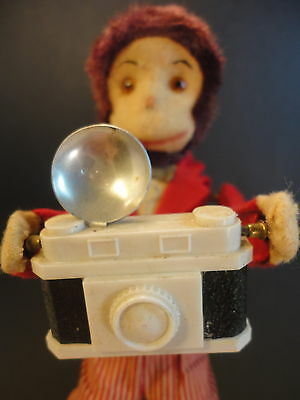 Vintage Traveller Photographer Monkey with Camera Wind Up Alps Toys Japan AS IS