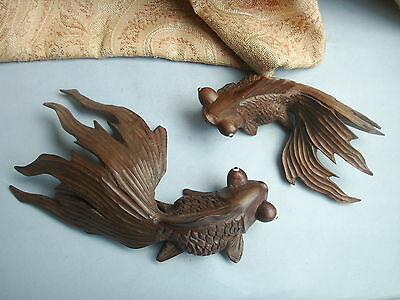 Old Vintage Chinese Hand Carved Hard Wood Pair of Koi Carp Fish Glass Eyes 1920s