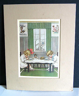 """Matted Print Early CREAM OF WHEAT Cereal Ad SAYING GRACE Girls Dolls 10"""" FREE SH"""