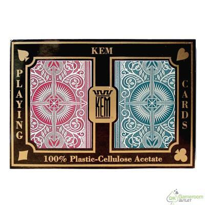 KEM Arrow Plastic Playing Cards, Red/Blue, Poker Size, Regular Index