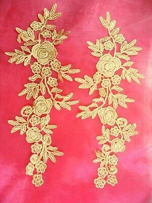 """Romantic Roses Embroidered Lace Appliques Gold Floral Mirror Pair 13"""" (DH84)"""