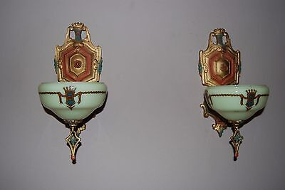 Pair  Art Deco 1930's Marquette Slip Shade Wall Sconces by Gil Glass