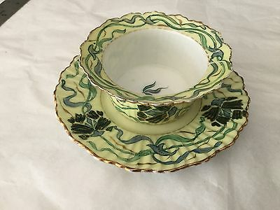 Hand painted thistle ramekin and underplate porcelain Austria