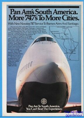 1986 Pan Am South America Route Map Jet Nose Cone Close Up Print Ad