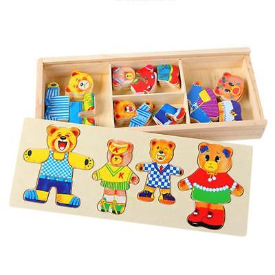 Wooden Puzzle Bear Changing Clothes Baby Kid Hand Grasp Early Educational Toy