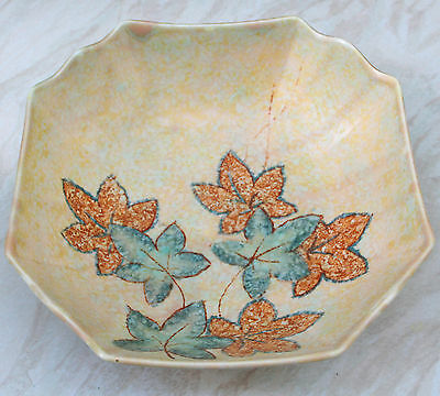 Crown Devon  Mottled Glaze With Painted Leaves Bowl
