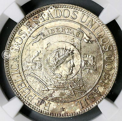 1900 NGC MS 64 BRAZIL Silver 1000 Reis DISCOVERY Coin 33K Minted (17022001C)
