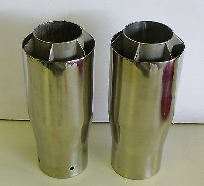 Vintage Pair Chrome Finned Rocket Exhaust Tip Decorative Rat Hot Rod Lot of 2