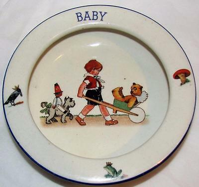 Charming Vintage Czech Pottery Baby Dish Bowl made Czechoslovakia