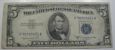 1953 B Blue Seal silver certificate ($5) dollar paper money currency (#720m)