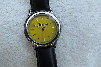 Cheerios cereal watch,General Mills advertising promo item,yellow face,leather