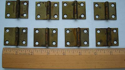 "ANTIQUE BRASS PLATED FIXED PIN HINGES 1-1/2"" x 1-1/8"" EARLY 1900'S TOTAL OF 8"