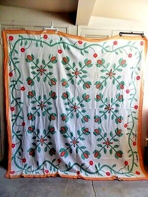 "Nice Red/Green/Orange Applique Quilt 80"" x 83"""
