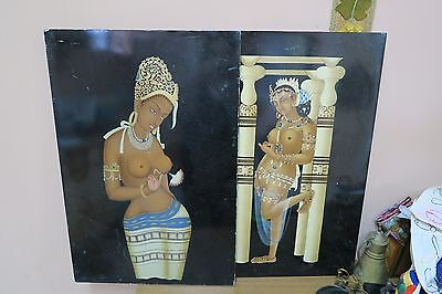 """Set @ 2 Vintage Lacquer Wood Painting Nude Figure India Nepal ? 16"""" x 24"""""""