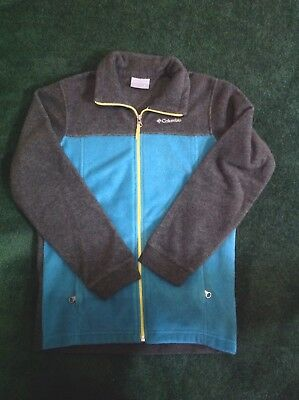 Boys Columbia Full Zip Fleece Sweatshirt Size Youth Medium Gray/Teal Color VGUC