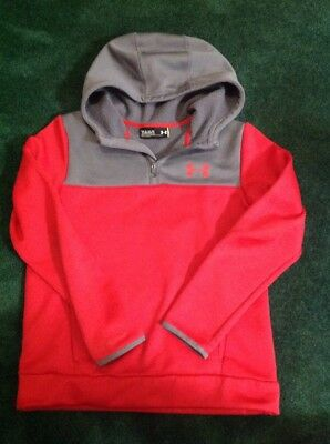 Boys Under Armour Half Zip Hoodie Size Youth LG Red/Gray Color VGUC