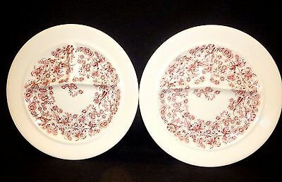 "Vintage Mayer Restaurant China  Grill Plate (2) ~ Red & White Floral ""delmar"""