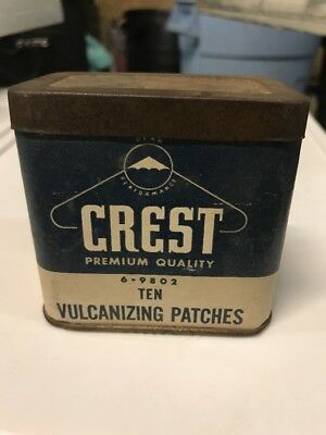 VINTAGE CREST PREMIUM TIN 10 VULCANIZING PATCHES FOR RUBBER REPAIRS w CARDBOARD