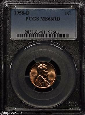 1958-D Lincoln Wheat Penny Cent 1c ~ PCGS MS66 RED ~ STUNNING! #7607