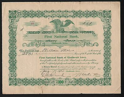 Stk-First National Bank, Gladbrook, IA 1915 #69 Certificate Nat Bank #5461