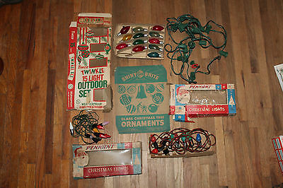 Vintage Lot Chirstmas Lights Pennant Shiny Brite Timco Rare Uncle Sam