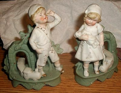 Whimsical Pair Victorian Bisque  Figural Spill Vases Children Toy Trains C.1890