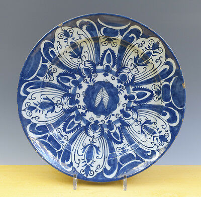 Antique Beautiful Very Large Dutch Delft Charger Floral/Ornamental 18TH C. MARK