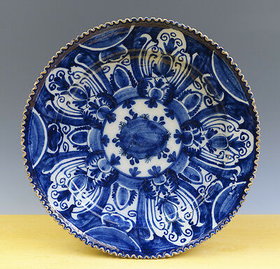 Antique Excellent Very Large Dutch Delft Notched Charger Floral/Ornamental 18TH