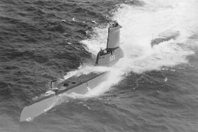 1953 MR US Submarine SS-523 USS Grampus Aerial View at Sea - 4x6 Photo