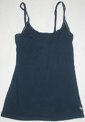 Abercrombie Navy Blue With Silver Trim Tank Top Cotton Shirt Girl's Size Large